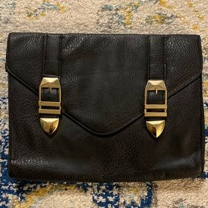 Handbags - Black Clutch/Purse with Gold Detail